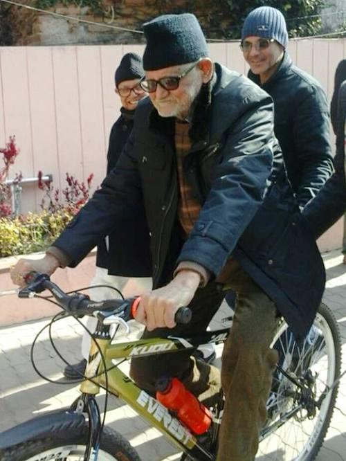 Nepali-Congress-presedent-Sushil-Koirala-cycling